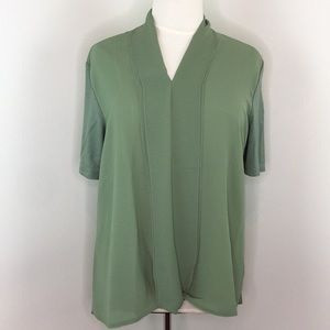 H by Halston Green Short Sleeve Blouse